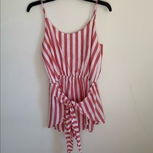 Red Striped Romper with Tie